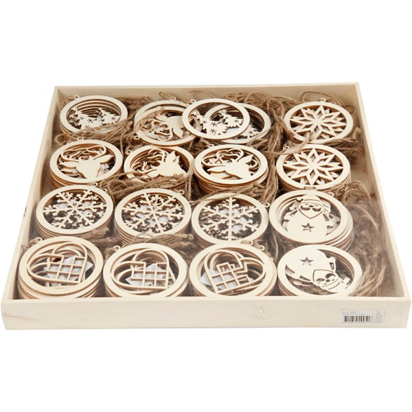Suspension en bois avec ficelle - Noël - 8 cm - 144 pcs - Photo n°2