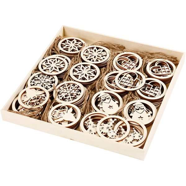 Suspension en bois avec ficelle - Noël - 8 cm - 144 pcs - Photo n°1