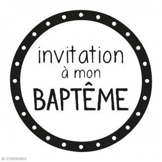 Kit tampon clear et bloc acrylique - Invitation rond Baptême - 4,5 x 4,5 cm