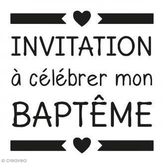 Kit tampon clear et bloc acrylique - Invitation Baptême - 4,5 x 4,5 cm