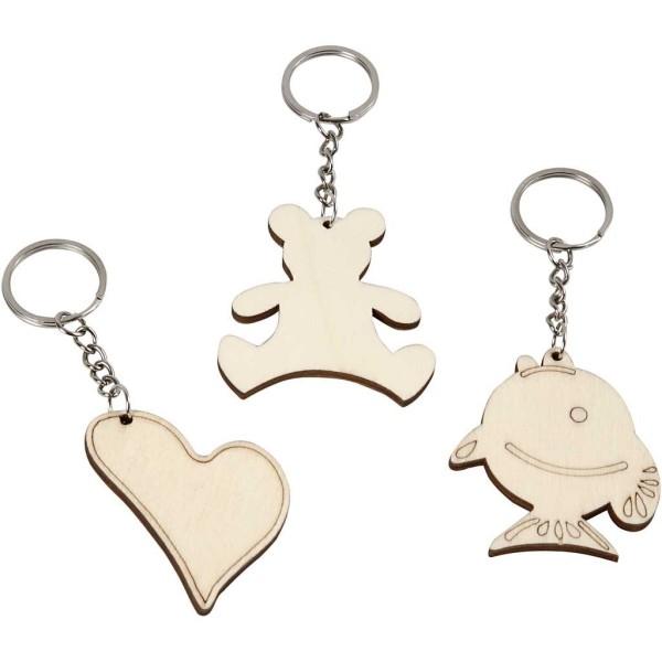 Porte-clés en bois avec anneaux - 10 designs - 5,5 x 5,5 cm - 30 pcs - Photo n°1