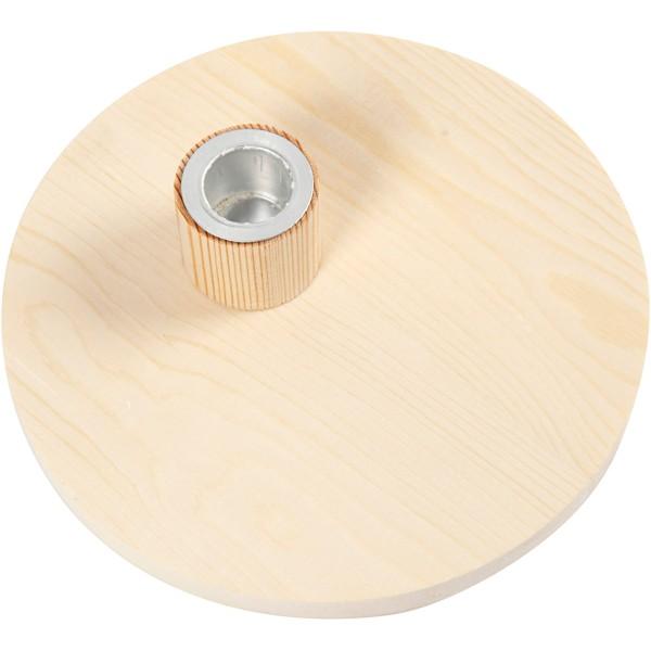 Bougeoir en bois avec insert métallique - 16 x 4 cm - Photo n°2