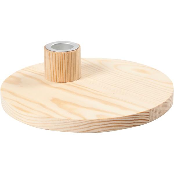 Bougeoir en bois avec insert métallique - 16 x 4 cm - Photo n°1