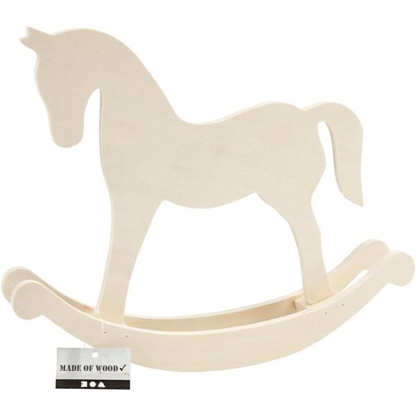 Grand cheval à bascule en bois à décorer - 30 x 24 cm - Photo n°2