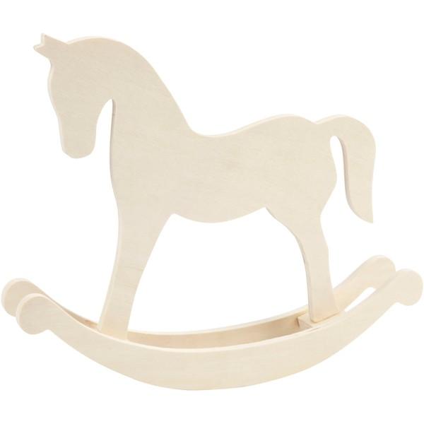 Grand cheval à bascule en bois à décorer - 30 x 24 cm - Photo n°1