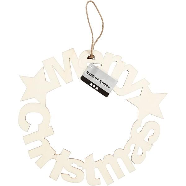 Couronne de Noël en bois - Merry Christmas - 22 cm - Photo n°2