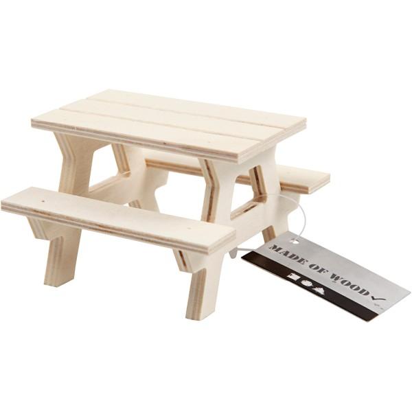 Table de Pique-nique miniature en bois - 8 x 8 cm - Photo n°2