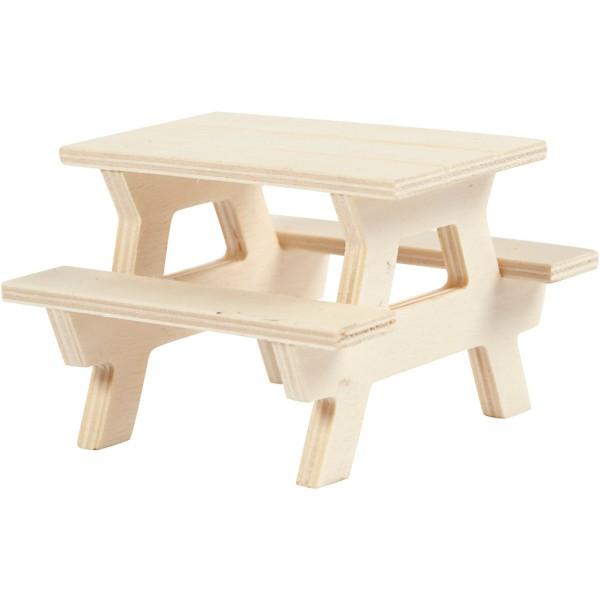 Table de Pique-nique miniature en bois - 8 x 8 cm - Photo n°1