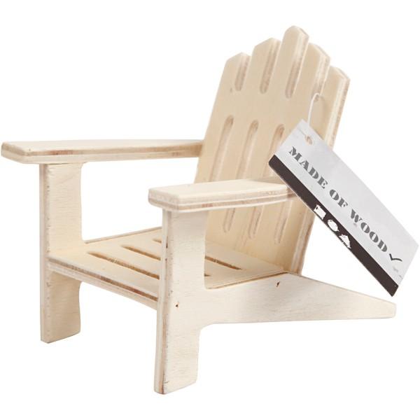 Chaise de jardin miniature en bois - 7,5 x 9 cm - Photo n°2