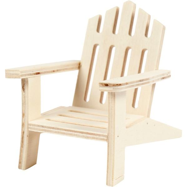 Chaise de jardin miniature en bois - 7,5 x 9 cm - Photo n°1