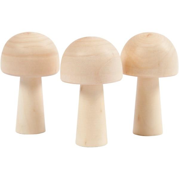 Lot de 3 champignons miniatures en bois - 5,2 x 2,9 cm - Photo n°1