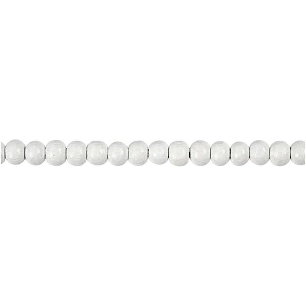 Assortiment de perles en bois 5 mm - Blanc - 150 pcs - Photo n°3
