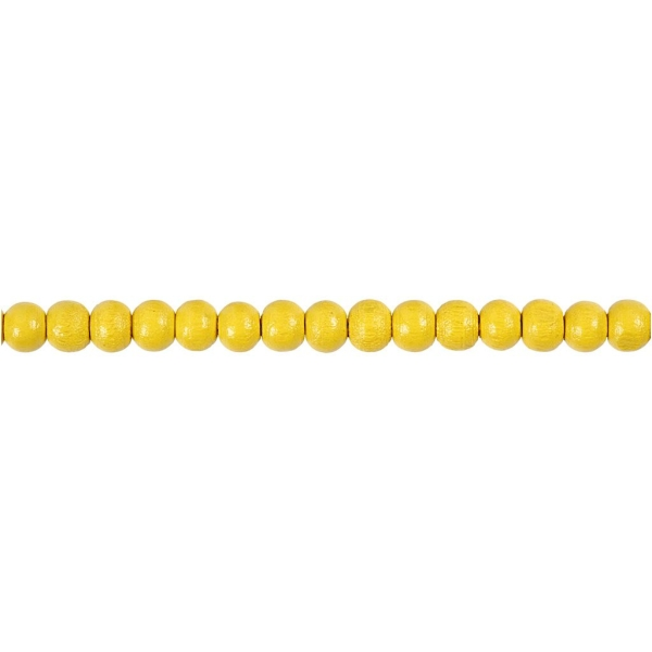 Assortiment de perles en bois 5 mm - Jaune - 150 pcs - Photo n°3