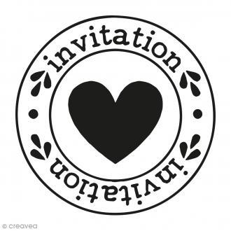 Kit tampon clear et bloc acrylique - Invitation Coeur - 4,5 x 4,5 cm