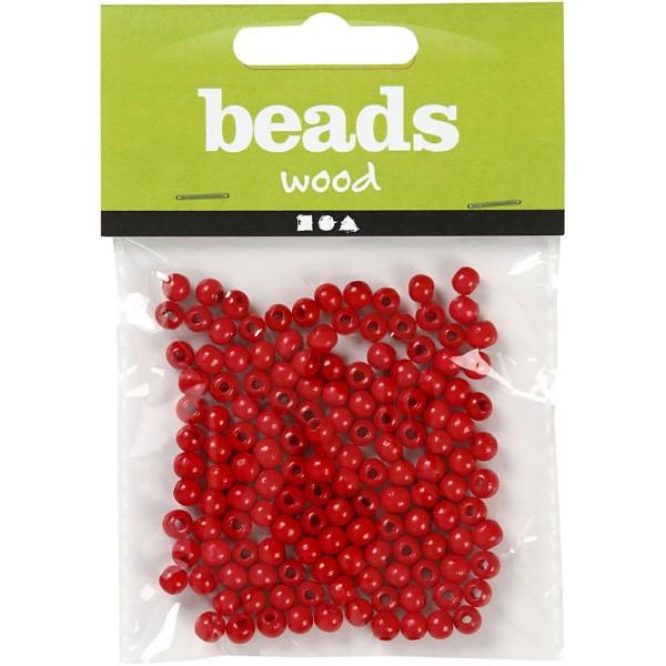 Assortiment de perles en bois 5 mm - Rouge  - 150 pcs - Photo n°2