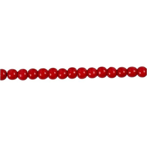 Assortiment de perles en bois 5 mm - Rouge  - 150 pcs - Photo n°3