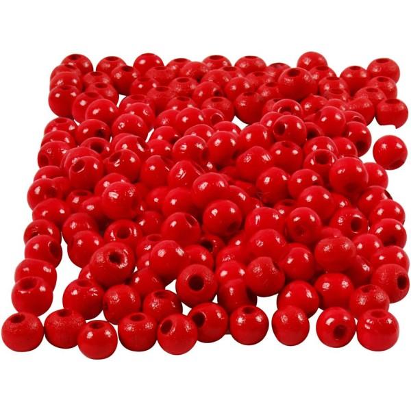 Assortiment de perles en bois 5 mm - Rouge  - 150 pcs - Photo n°1