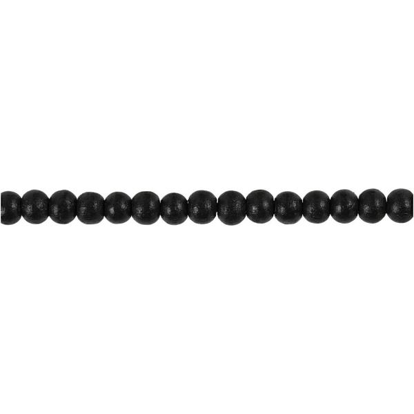 Assortiment de perles en bois 5 mm - Noir - 150 pcs - Photo n°3