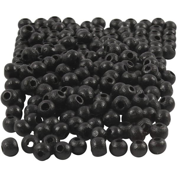 Assortiment de perles en bois 5 mm - Noir - 150 pcs - Photo n°1
