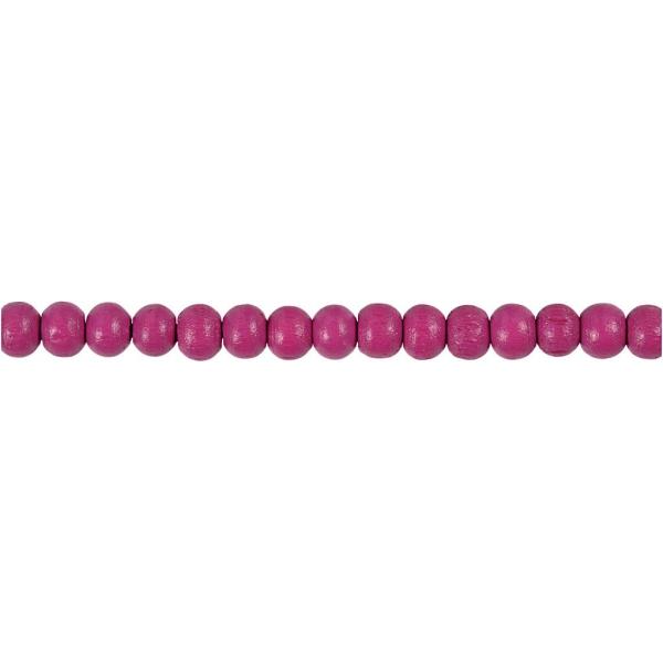 Assortiment de perles en bois 5 mm - Rose - 150 pcs - Photo n°3