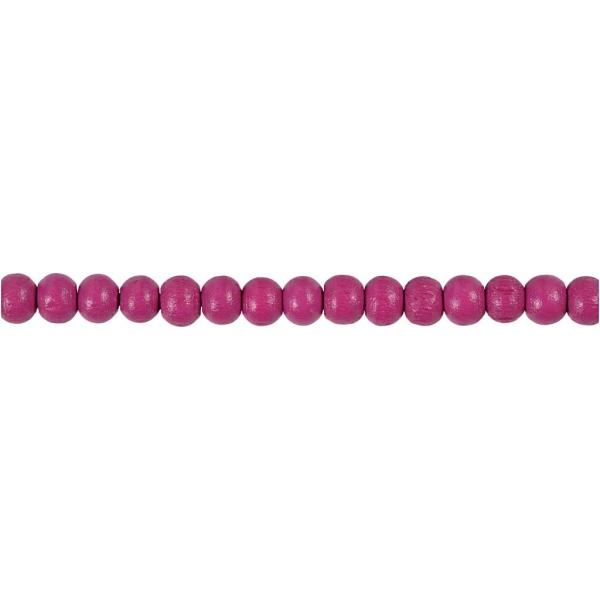 Assortiment de perles en bois 5 mm - Rose - 150 pcs - Photo n°1