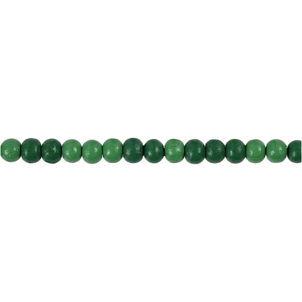 Assortiment de perles en bois 5 mm - Vert - 150 pcs - Photo n°3