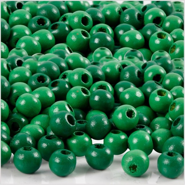 Assortiment de perles en bois 5 mm - Vert - 150 pcs - Photo n°1
