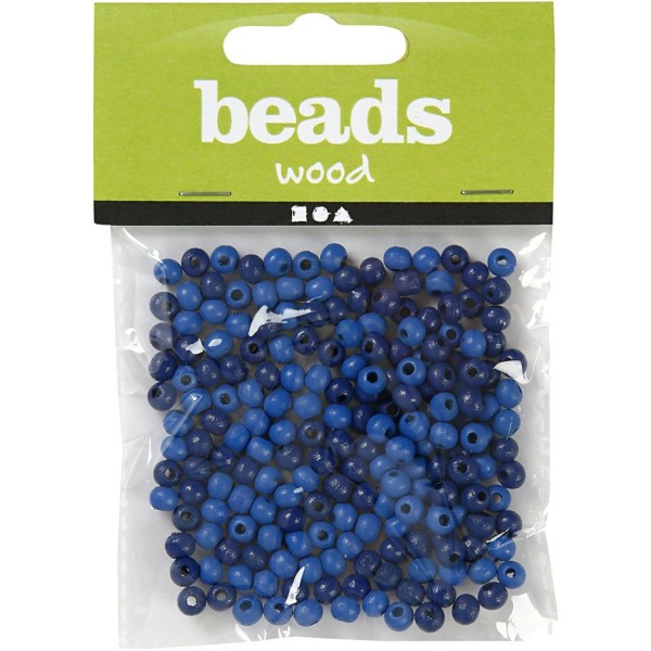 Assortiment de perles en bois 5 mm - Bleu - 150 pcs - Photo n°2