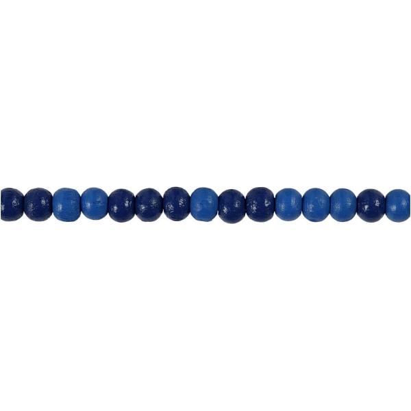 Assortiment de perles en bois 5 mm - Bleu - 150 pcs - Photo n°3