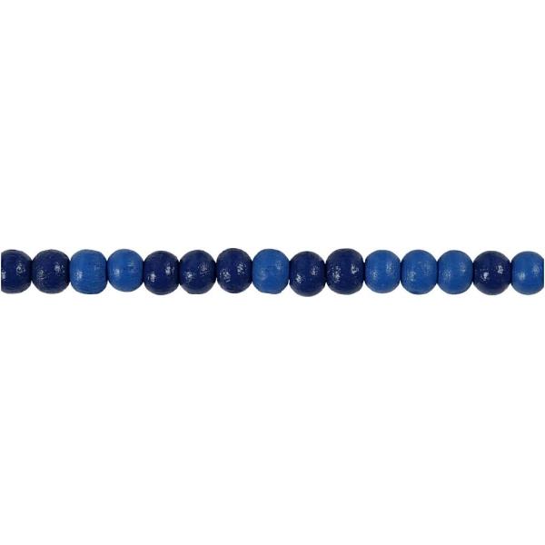 Assortiment de perles en bois 5 mm - Bleu - 150 pcs - Photo n°1