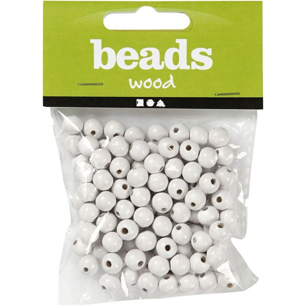 Assortiment de perles en bois 8 mm - Blanc - 80 pcs - Photo n°2