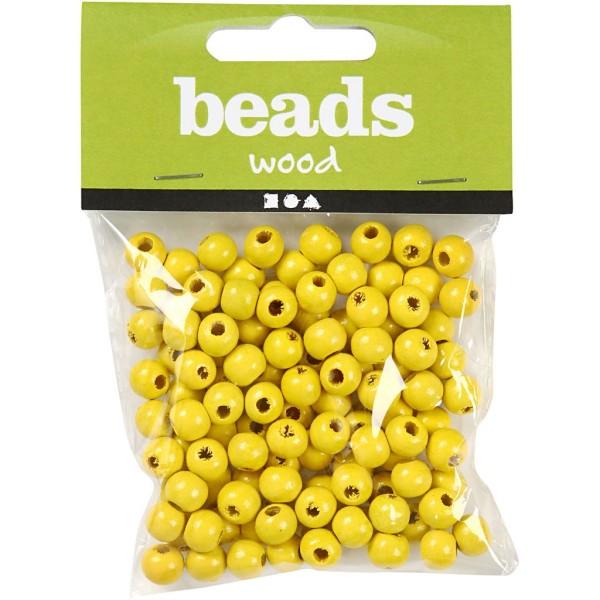 Assortiment de perles en bois 8 mm - Jaune - 80 pcs - Photo n°2