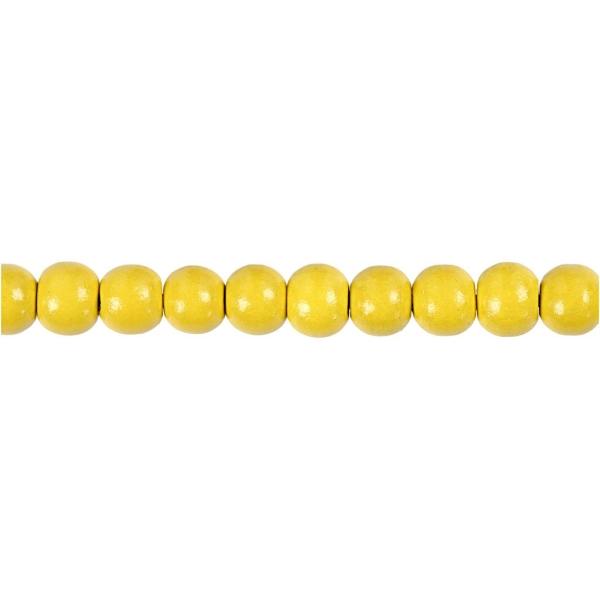 Assortiment de perles en bois 8 mm - Jaune - 80 pcs - Photo n°3