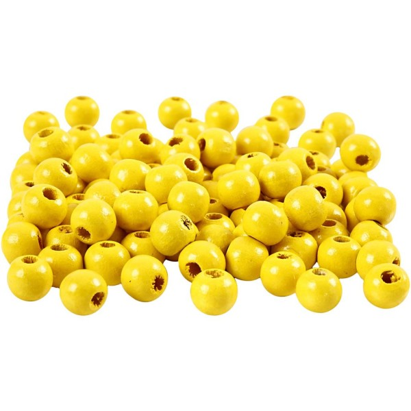 Assortiment de perles en bois 8 mm - Jaune - 80 pcs - Photo n°1