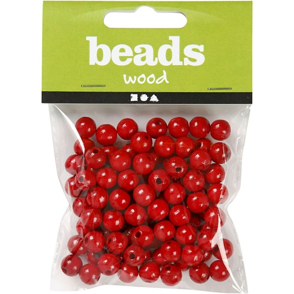 Assortiment de perles en bois 8 mm - Rouge  - 80 pcs - Photo n°2