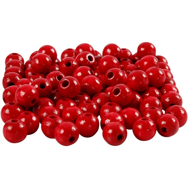 Assortiment de perles en bois 8 mm - Rouge  - 80 pcs - Photo n°1