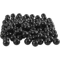 Assortiment de perles en bois - 5 mm - Noir - 80 pcs