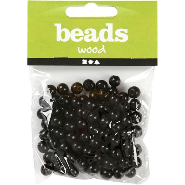 Assortiment de perles en bois 8 mm - Noir - 80 pcs - Photo n°2