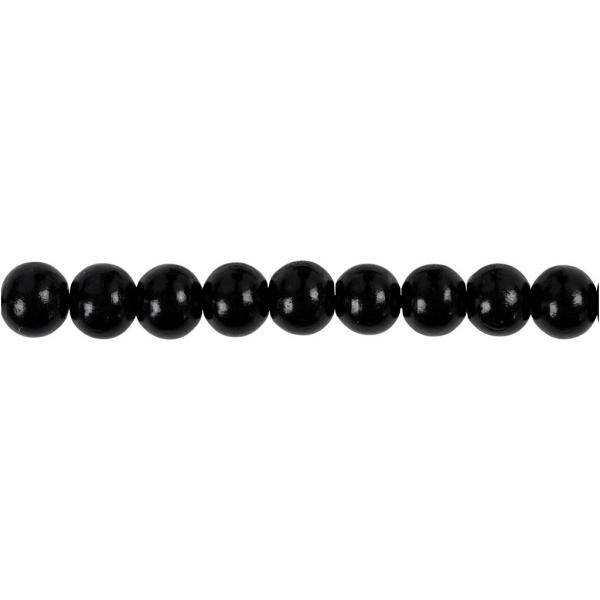 Assortiment de perles en bois 8 mm - Noir - 80 pcs - Photo n°3
