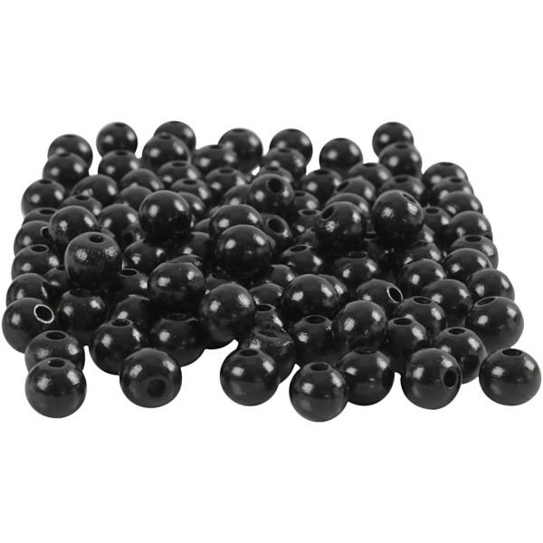 Assortiment de perles en bois 8 mm - Noir - 80 pcs - Photo n°1