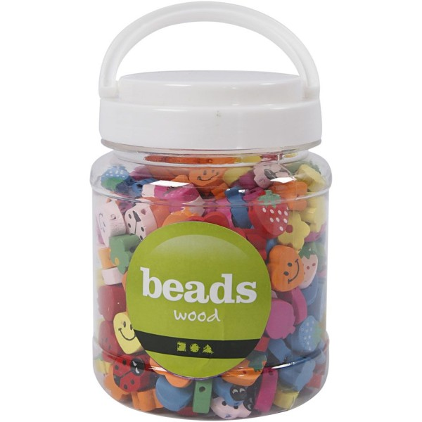 Assortiment de perles en bois fantaisies - Multicolore - 15 à 20 mm - 325 pcs environ - Photo n°2