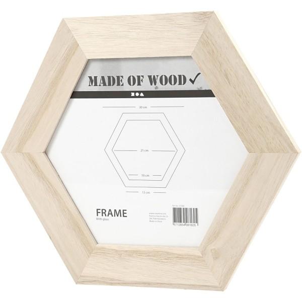 Cadre hexagonal en bois à décorer - 30 x 30 cm - 1 pce - Photo n°1