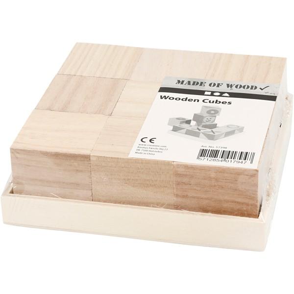 Cubes en bois à décorer - 4 x 4 x 4 cm - 9 pcs - Photo n°2