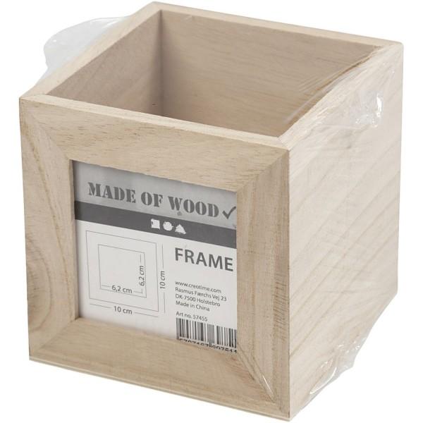 Pot à crayons carré en bois avec cadre photo - 10 x 10 x 10 cm - Photo n°2