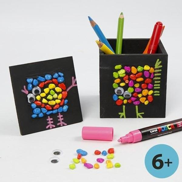 Pot à crayons carré en bois avec cadre photo - 10 x 10 x 10 cm - Photo n°3