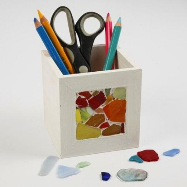 Pot à crayons carré en bois avec cadre photo - 10 x 10 x 10 cm - Photo n°4