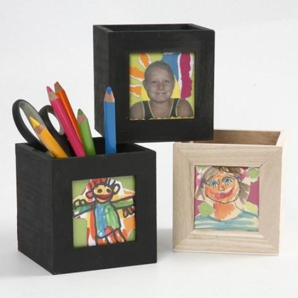 Pot à crayons carré en bois avec cadre photo - 10 x 10 x 10 cm - Photo n°5