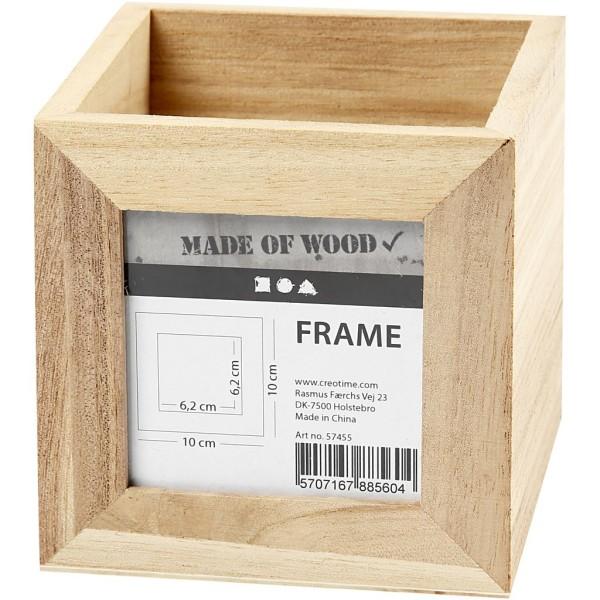 Pot à crayons carré en bois avec cadre photo - 10 x 10 x 10 cm - Photo n°1