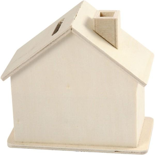Tirelire maison en bois - 10,1 x 10 x 5,4 cm - Photo n°1