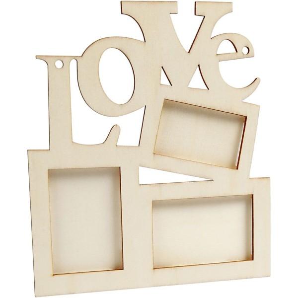 Cadre en bois 3 photos - Love - 19,7 x 16 cm - Photo n°2